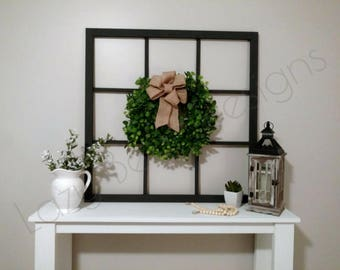 Faux Window Frame | 9 Pane with Wreath, Farmhouse Modern Square Window decor, wall hanging window, old antique wooden mantle home decor