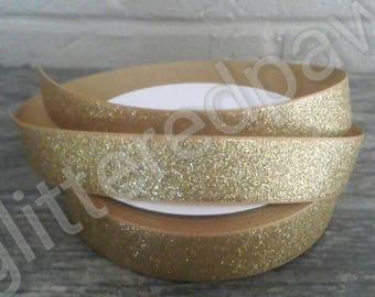 """7/8"""" Gold Glitter Grosgrain Ribbon"""
