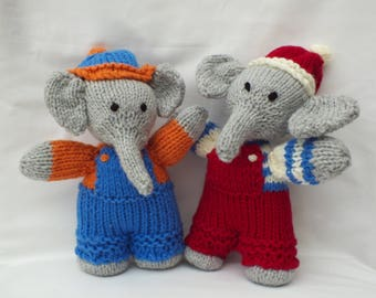 Knitted Toys, Elephants, Handmade Animals, Stuffed Small Soft Gifts for Kids