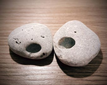 Two Lucky Stones, Witch Stones, Holey Stones, Natural Hag Stones, Good Luck Talisman, Fairy Stone, Good Luck Stone from Ireland, Odin Stones