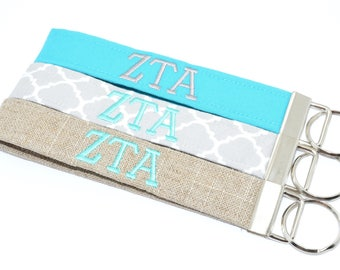 Officially Licensed Zeta Tau Alpha Sorority Keychain Key Chain Fob Wristlet Greek Life Personalized Embroidered