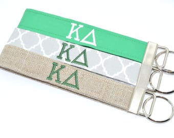 Officially Licensed Kappa Delta Sorority Keychain Key Fob Wristlet Greek Life Personalized Embroidered