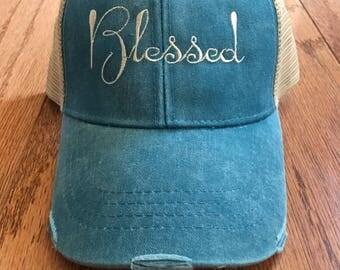 Blessed, faith, hat, cap, blessed hat, mesh hat, snapback cap, religion, trucker, trucker hat, distressed