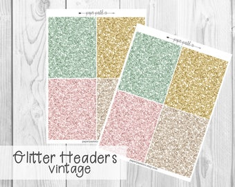 Glitter Headers - Vintage by PaperPastelCo for use with the Erin Condren Vertical Life Planner™ and Classic Happy Planner
