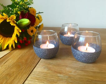 Set of 3 Glitter Candle holders | tealight | votive |