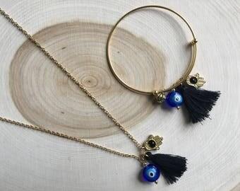 Bohemian Charm Tassel Necklace, Bohemian Jewelry