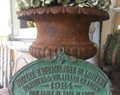 French Vintage Agricultural Trophy// 1924 Trophy Plaque// Concours// Animal Prize//Green Cast Iron Plaque// French Farmhouse Decor
