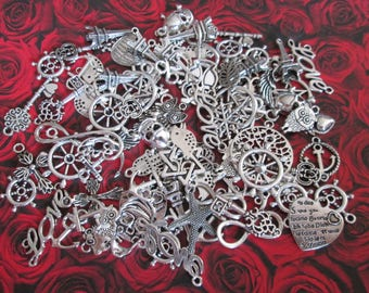 lot 100 mixed metal charms