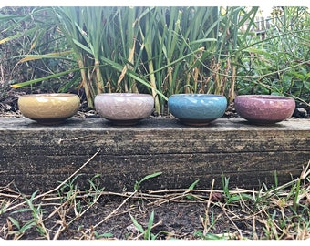 Set of 4 Handmade Mini Succulent / Cactus Pot Cracked Ceramic Decor Pot Planter or Vessel Wedding / Valentines Gift For Her