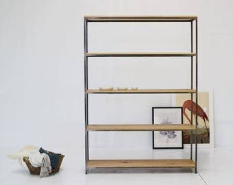 Industrial oak shelving/ bookcase/oak/steel