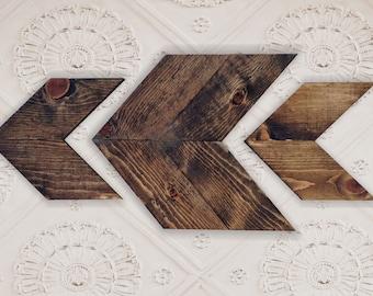 1 Large and 2 Small Wooden Chevrons. Wood arrows, Wooden Wall Decor, Arrow Art, Chevron wall art, Rustic Wooden Arrow, Wooden Arrow Wall Art