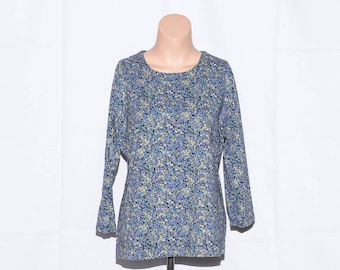 Vintage cotton top,Woman top,3/4 sleeves,Berries print top,Woman pullover,Women Blouse, Size L UK