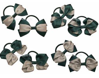 Bottle green and grey school bows on thick bobbles, girls school uniform hair accessories, solid colour hair bows, hair elastics, hair ties