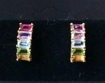 Gorgeous multi-stone earrings set in sterling silver 925