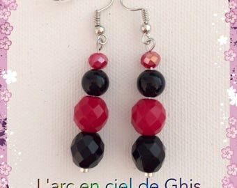 Earrings red and black, silver or gold hooks