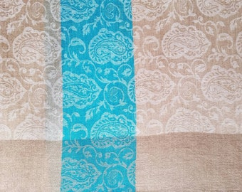 Pashmina taupe colored with turquoise India shawl wool shawl bridal shawl wedding shawl wedding guest shawl lightweight shawl gifts for her