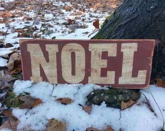Hand Painted Weathered Christmas 'NOEL' Wood Sign