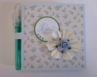 Sticky Note Holder/Notepad Gifts Stationery - Best Wishes, Good Luck, Blue Rose, Floral, Green, White Flower