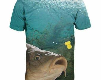 New Ultramodern 3D Printed High Quality Carp Fish Men's T-shirt