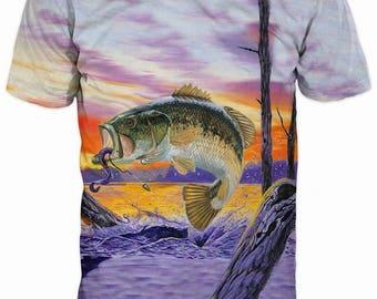 New Ultramodern 3D Printed High Quality Perch Fish Men's T-shirt