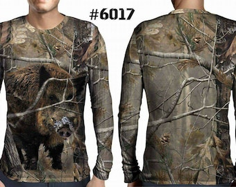 New ultramodern 3D  High Quality  Hunting Boar Forest Mens  Long Sleeve Brown T-shirt