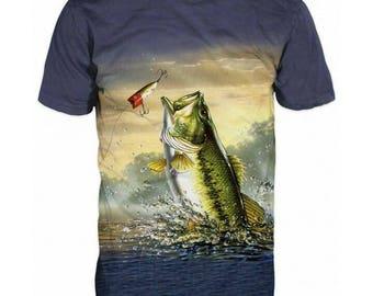 New Ultramodern 3D Printed High Quality Big Fish Men's gray T-shirt