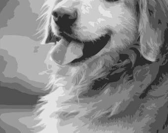 Golden Retriever, Layered Papercut Template, Dog Papercutting Portrait, Pet Portrait, Commercial Use, Personal Use
