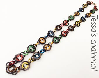 Black necklace, colour necklace, rainbow necklace, black chainmaille, colour jewelry, black jewelry, chainmaille jewelry, Tessa's chainmail