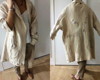 Women coat, Felted coat,  Jacket, Hand made, Clothing, Beige, Wearable art, Nuno felted, Designer,  Eco-fashion, Wool Coat
