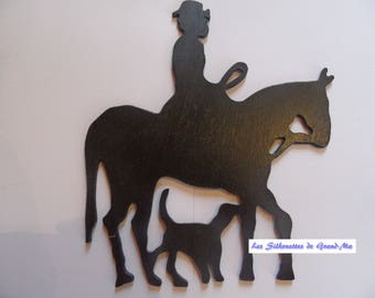 Cavalier in hunting, wooden wall decoration