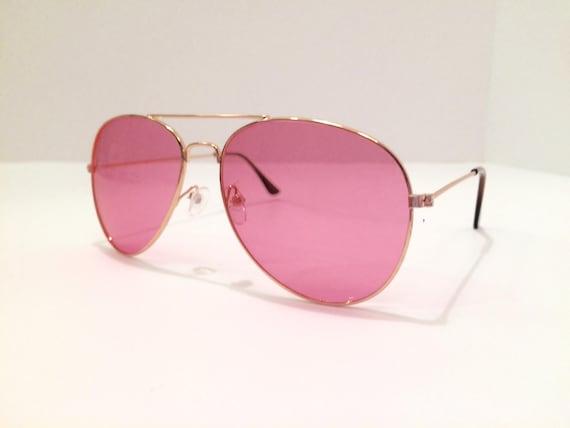 Pink Aviator Sunglasses Pink Glasses Copper Glasses Sunglasses Vintage Sunglasses Hippie Boho Peace 60s 90s 1990s 1960s