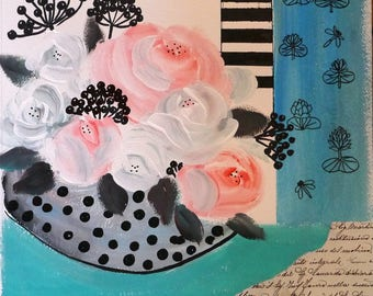 Original Art, Contemporary art, Turquoise Art, Roses and berries, Mixed Medias, acrylics painting