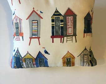 Vintage beach huts on natural