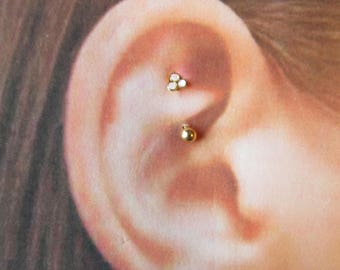 Golden,Opal Rook,daith Piercing Curved Barbell..16g..8mm..Surgical Steel
