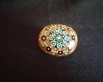 Green mandala painted stone magnet
