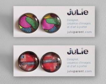 Stud Earrings made from my artwork, image on 16 mm glass, backed by a stainless steel, art to wear, 2 models available
