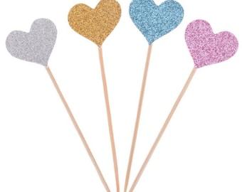Glitter Heart Cupcake Topper Set of 40