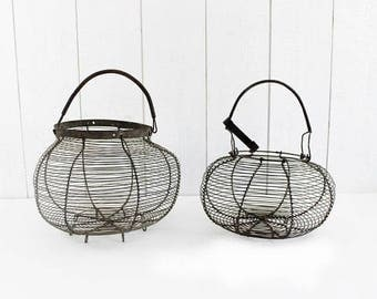 French Antique Wire Egg Basket - Handmade Metal Wire Basket, French Egg Basket, Rustic Wire Basket, Farmhouse basket, E403
