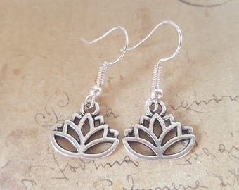 Lotus Blossom earrings ~ silver ~