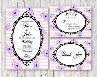 Fancy Pastels Wedding Invitation Set