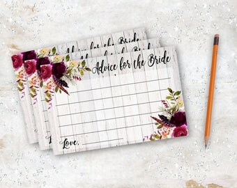 Advice for the Bride Card Marsala Bridal Shower Burgundy Rustic Boho Bohemian Instant Download SC012