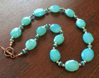 Blue/Green Faceted Chalcedony Gemstone Necklace with Blue-green Fire-Polished Beads and Copper Beads