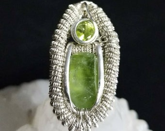 Peridot Wire Wrapped Pendant, Terminated Peridot Crystal, Facted Peridot, Wire Wrap, Crystal Jewelry