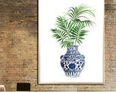 Ginger Jar watercolor Palm leaves art print Ming Vase painting  Blue White China Vase poster Chinoiserie print Ming Indigo Palm leaf poster