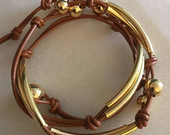 Brown leather and gold wrap bracelet