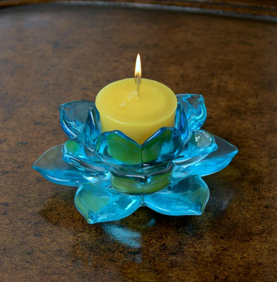 Blue Glass Lotus Flower Candle Holder