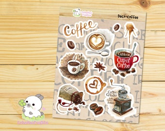 Coffee Lover Deco/ Decoration Sheet Planner Stickers