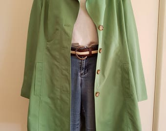 80s 90s / Size M-L / Retro Green / Esprit / Trench Coat / Over Coat / Duster Coat