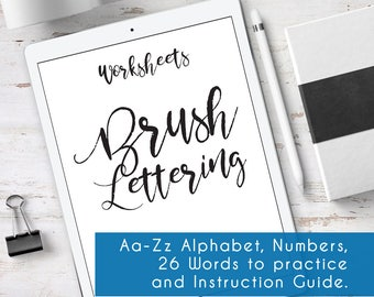 Bounce Lettering for Procreate app, 24 Worksheets to practice. With complete instruction guide for Beginners. Brush Lettering