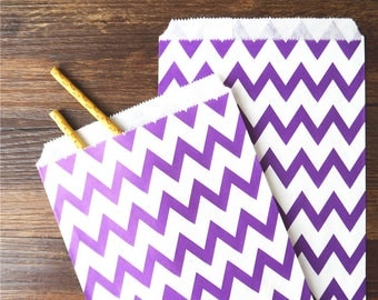 "12 Purple Chevron Paper Bags. Grocery Bags. Party Bags and Candy Bags. 5 1/8 x 6 3/8"". Favor Bags."